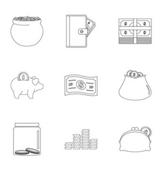 Sponsor assistance icons set outline style vector