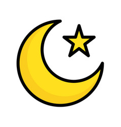 Star and crescent ramadan related filled icon vector