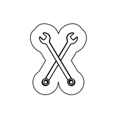 Sticker monochrome with crossed wrenches vector