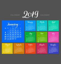 stylish menology 2019 january separately dark vector image