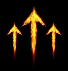 Three fire arrows vector image