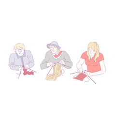 Three sitting and knitting women colourful doodle vector