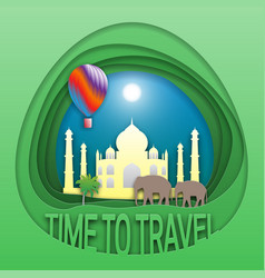 time to travel emblem template taj mahal vector image