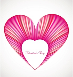 Valentine day card with pink heart vector image