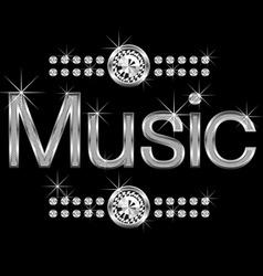 vector thin metal diamond word music big and small vector image
