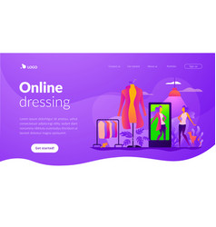 Virtual fitting room landing page template vector