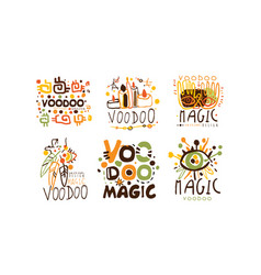 Voodoo and magic labels design set vector