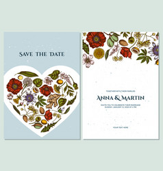Wedding invitation card with colored almond vector