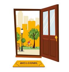 wood brown door with view park urban landscape vector image