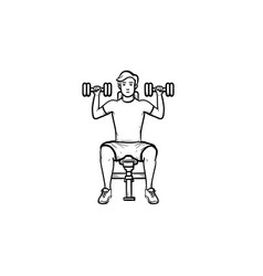 young man with dumbbells hand drawn outline doodle vector image