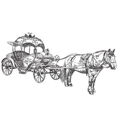 - beautiful carriage with horse vector image