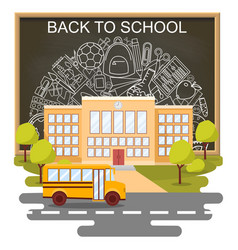 back to school concept poster school bus vector image