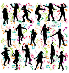 background with silhouettes of children dancing vector image vector image