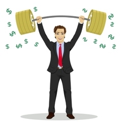 businessman lifts up barbell with dollar sign vector image