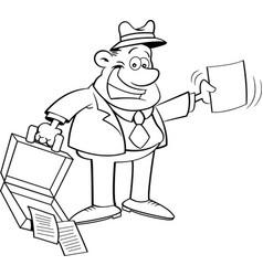 cartoon businessman holding an open briefcase vector image