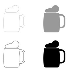 glass of beer the black and grey color set icon vector image vector image