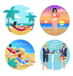 business summer seaside set vector image