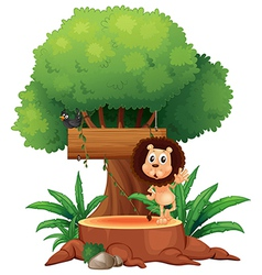 A lion and a bird under the tree with an empty vector image vector image