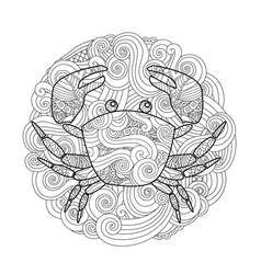 coloring page ornate crab in circle mandala vector image vector image