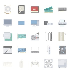 Computer components and peripherals flat icons set vector image