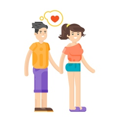 flat style of romantic young couple vector image