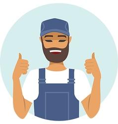 Handyman character thumbs up vector image