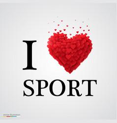 i love sport heart sign vector image