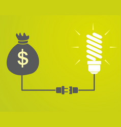 lamp is connected to a bag with money vector image