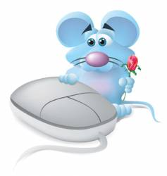 mouse in love vector image vector image