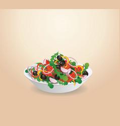 plate of vegetable salad lettuce vegetables vector image