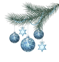 Blue christmas balls on green spruce branch vector