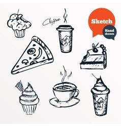 Coffee cup and hot tea milkshake drinks vector image vector image