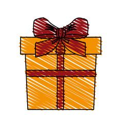 color crayon stripe cartoon giftbox with wrapping vector image vector image