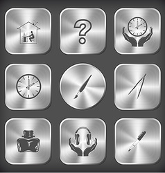 home work query sign clock in hands brush caliper vector image vector image