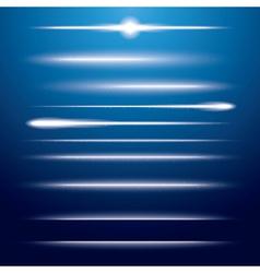 Set of Neon Lens Flares on Blue Background vector image