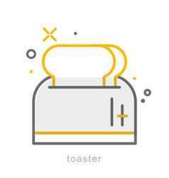 Thin line icons toaster vector image
