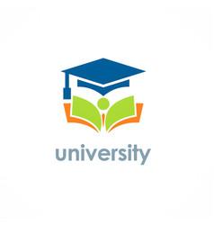 university education graduation hat logo vector image