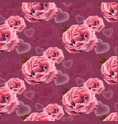 valentines day card roses heart pattern vector image vector image