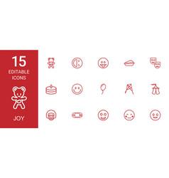 15 joy icons vector image
