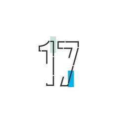 17 year anniversary celebration template design vector
