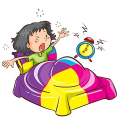 A young girl with an alarm clock vector