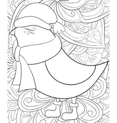 adult coloring bookpage a cute bird wearing vector image