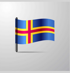 Aland waving shiny flag design vector