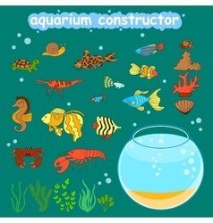 aquarium constructor Fishbowl different fishes vector image