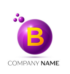 B letter splash purple dots and circle bubble vector