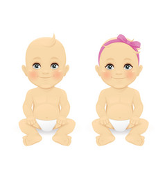 Baby boy and girl vector