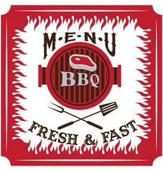 Bbq menu card design template vector