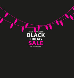 black friday sale handmade with christmas lights vector image