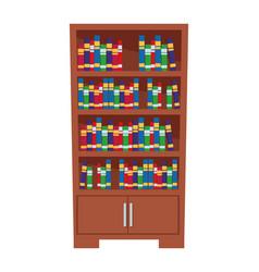 Bookshelf full books icon cartoon vector