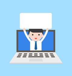 businessman holding blank white board in laptop vector image
